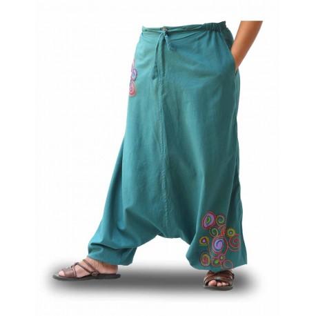 Pantalones Boho, color turquesa