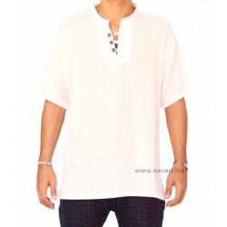 Camisas cuello Mao, color blanco