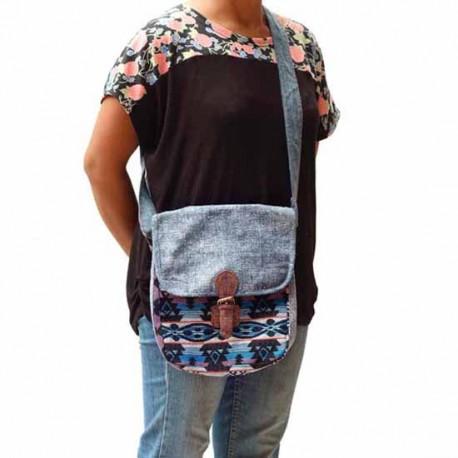 Bolso Hippie, etnico, bordado algodon